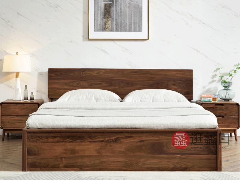 希恩家具北欧卧室床YC029实木高箱床1.8米储物床 北美黑胡桃木床