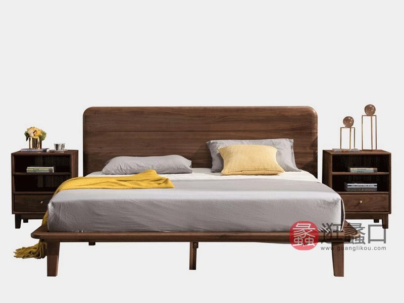 希恩家具北欧卧室床Y0023实木床1.8米北美黑胡桃木床 北欧双人床