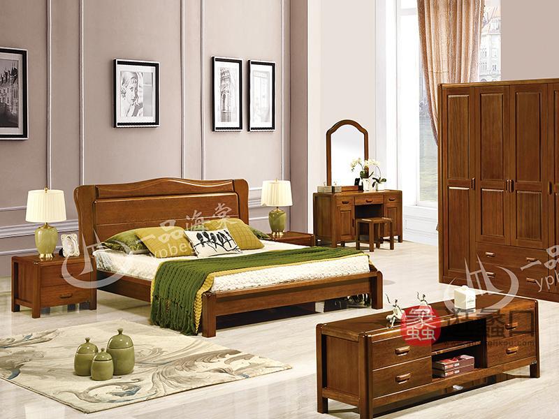 君诺家居·一品海棠家具 现代中式卧室海棠木实木813双人床/婚床/床头柜/四门衣柜/梳妆台