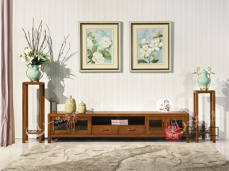 君诺家居·一品海棠家具 现代中式客厅海棠木实木电视柜/花架