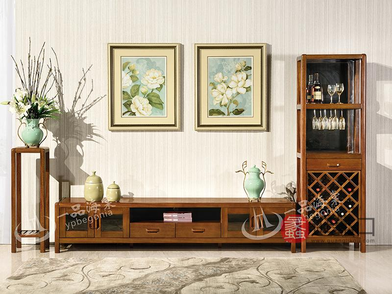 君诺家居·一品海棠家具 现代中式客厅海棠木实木电视柜/酒柜/花架808地柜