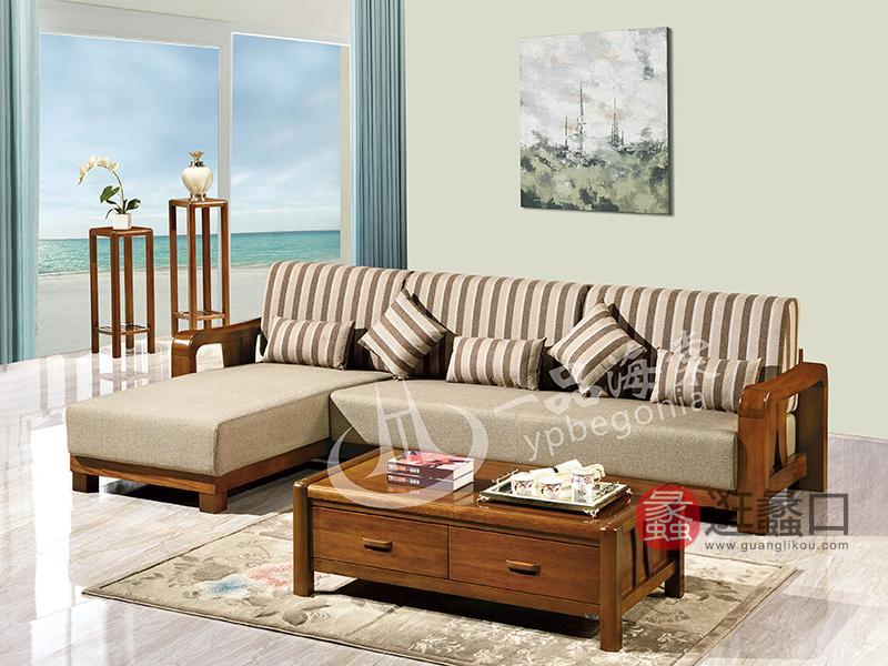 君诺家居·一品海棠家具 现代中式客厅海棠木实木808布艺转角沙发组合/茶几/花架