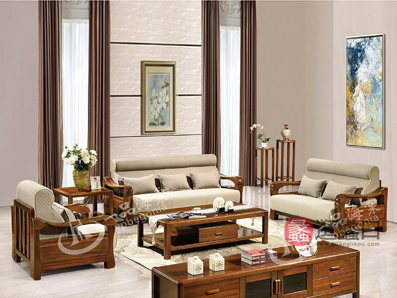 君诺家居·一品海棠家具 现代中式客厅布艺海棠木实木811单人位/三人位沙发组合/角几/茶几