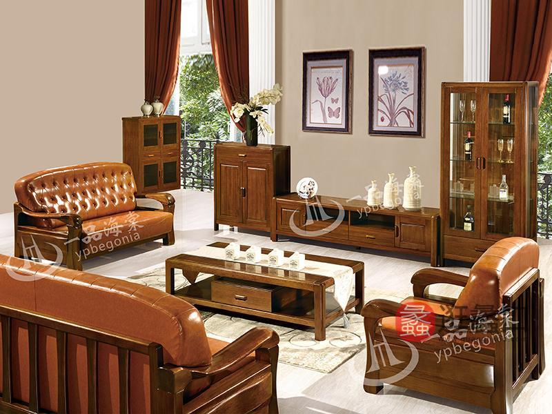 君诺家居·一品海棠家具 现代中式客厅皮艺海棠木实木1+2+3沙发组合/茶几/厅柜/电视柜/酒柜