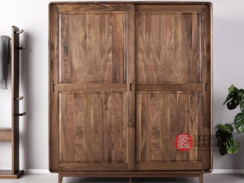 希恩家具北欧卧室衣柜SP7809实木衣柜 北美黑胡桃木全实木双门衣柜 移门衣柜推拉门