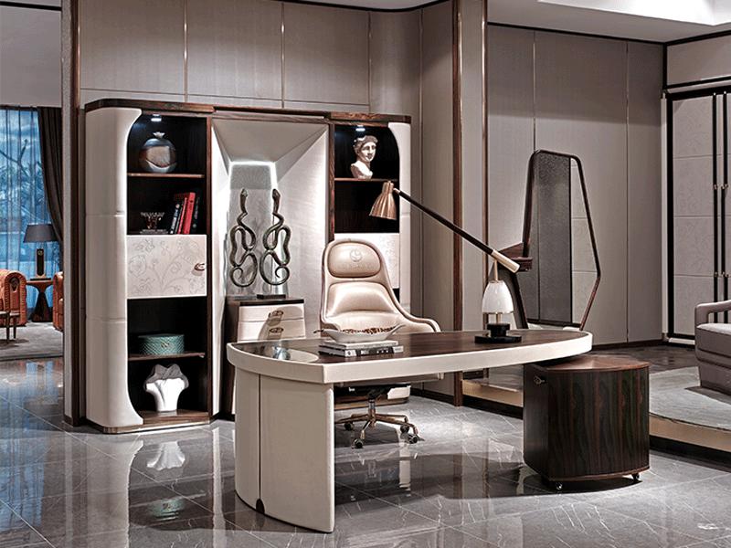 安东尼奥家具轻奢书房书桌椅观邸系列现代轻奢书房书桌书椅GD001