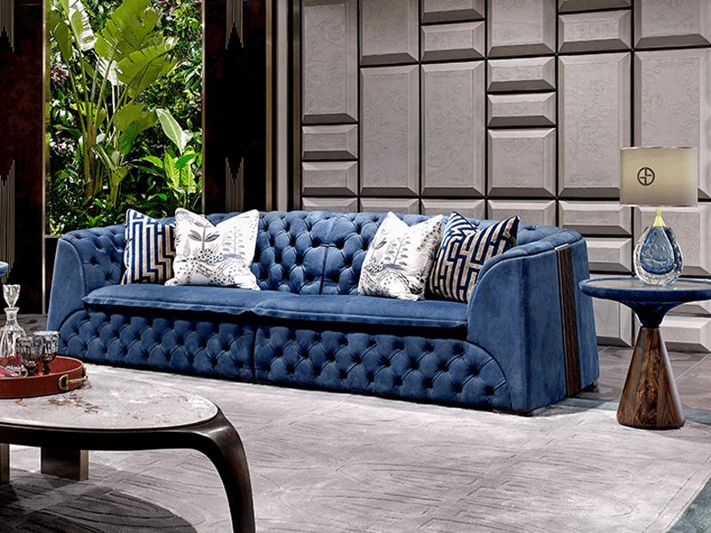 安东尼奥家具轻奢客厅沙发客厅轻奢沙发组合实木沙发组合C1安东尼奥陆虎凯旋皇家蓝沙发
