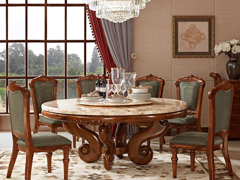 安东尼奥家具美式餐厅餐桌椅陆虎凯旋欧美风格系列餐桌实木餐桌椅乌金木餐桌椅CZ003乌金木1.8米圆餐桌
