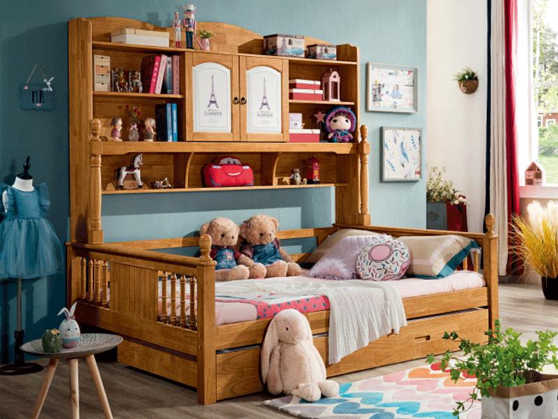 七彩时光儿童实木家具儿童儿童房儿童床儿童储物实木床儿童卧室实木床W8807#书柜床