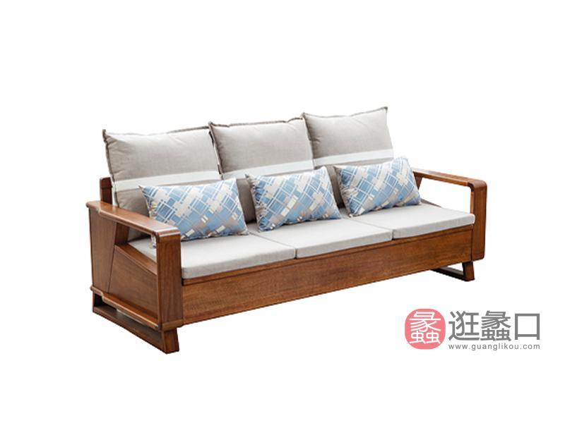 臻木家具新中式客厅沙发黄金胡桃木沙发202#三人位沙发