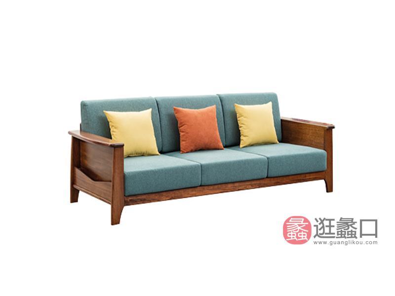 臻木家具新中式客厅沙发黄金胡桃木203#三人位沙发