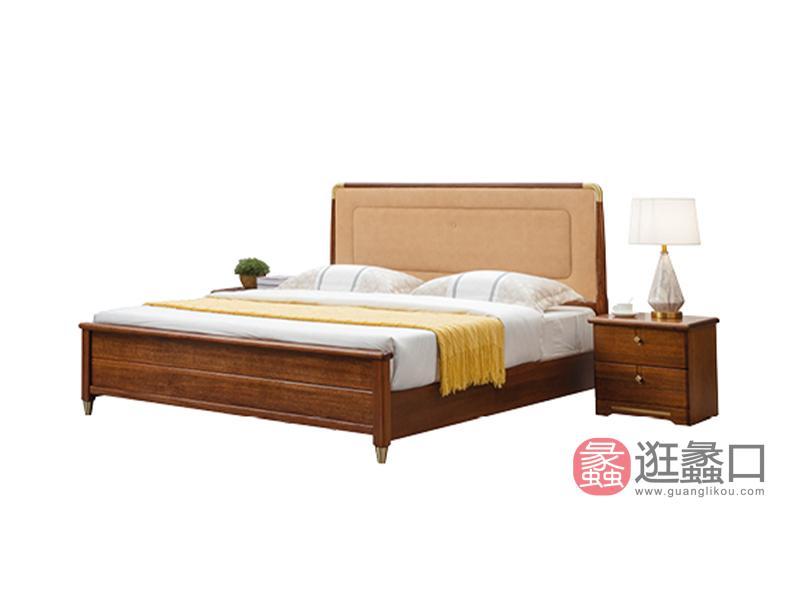 臻木家具新中式卧室床黄金胡桃双人实木大床603#床