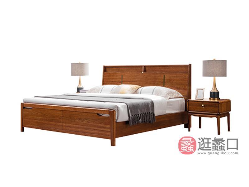 臻木家具新中式卧室床黄金胡桃木实木大床605#床