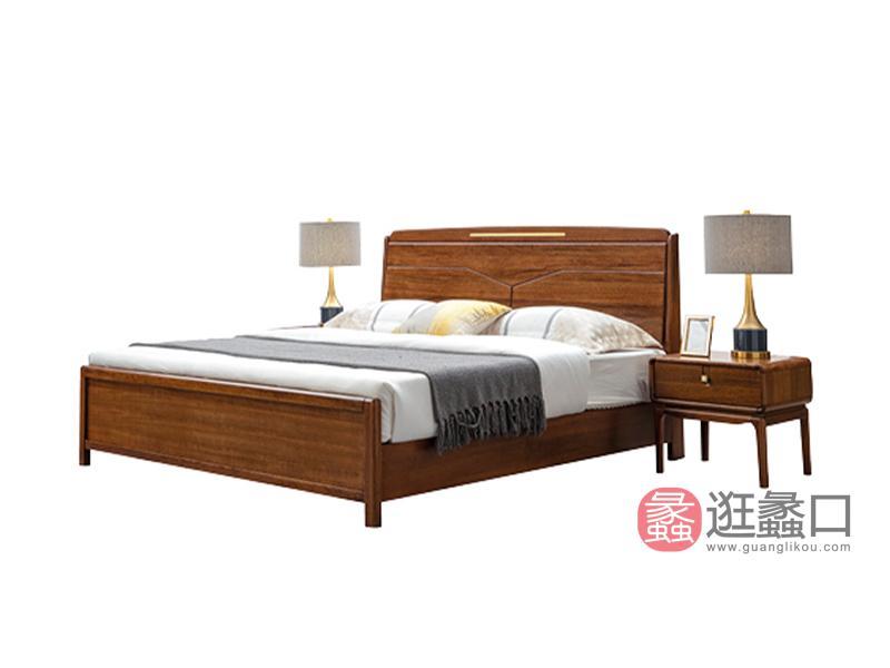 臻木家具新中式卧室床黄金胡桃木实木大床双人床606#床