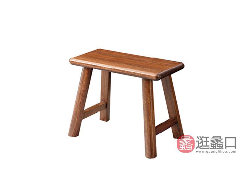 臻木家具新中式书房茶台茶桌椅黄金胡桃木大板凳810#短大板櫈