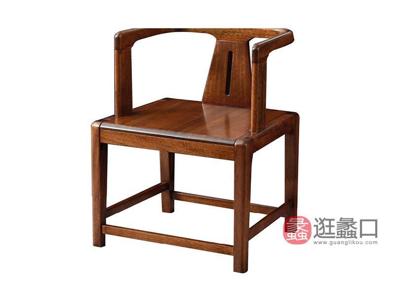臻木家具新中式书房茶台茶桌椅黄金胡桃木茶几实木茶椅806#茶椅