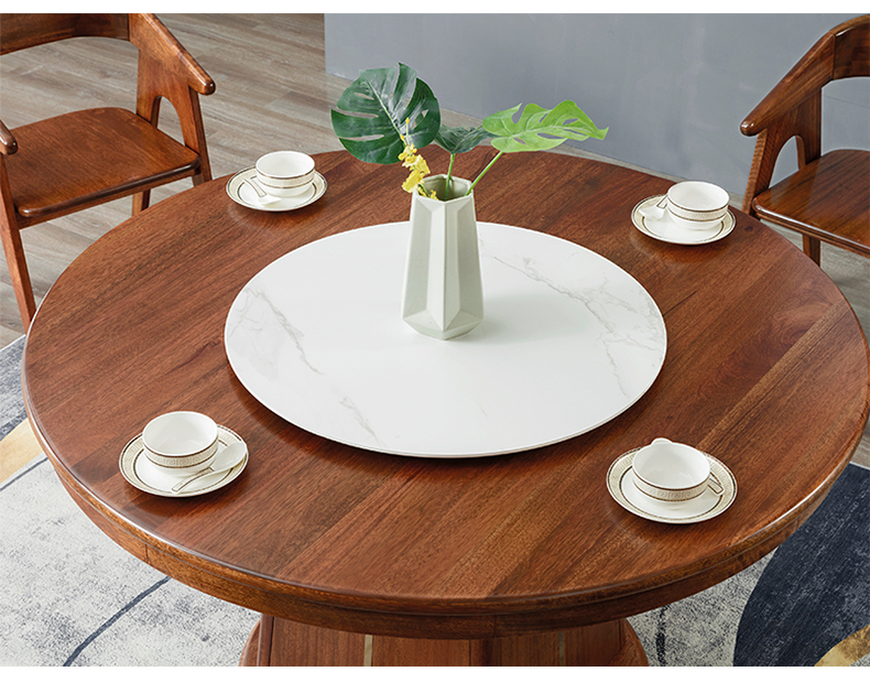 黄金胡桃木圆餐桌815圆台餐桌