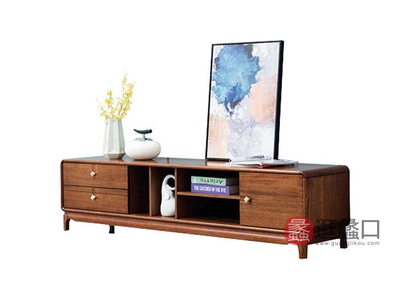 臻木家具新中式客厅电视柜黄金胡桃木电视柜818#电视柜
