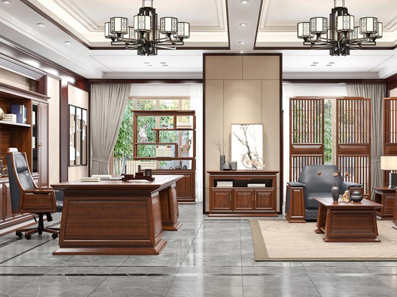 新思维办公家具进口实木办公桌总裁桌老板桌办公室写字楼董事长总经理桌H3-T0601班台