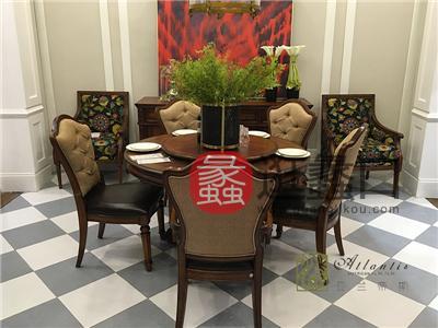 亚兰帝斯家具美式古典餐厅鹅掌楸C4601圆餐桌 /C4501餐椅