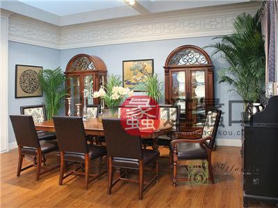 亚兰帝斯家具美式古典餐厅鹅掌楸全实木餐桌椅C3608餐桌