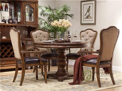 亚兰帝斯家具美式古典餐厅鹅掌楸实木C4601圆餐桌1.23米/餐桌椅