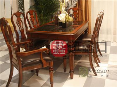 亚兰帝斯家具美式古典餐厅鹅掌楸实木C910餐桌 /C902餐椅皮坐垫