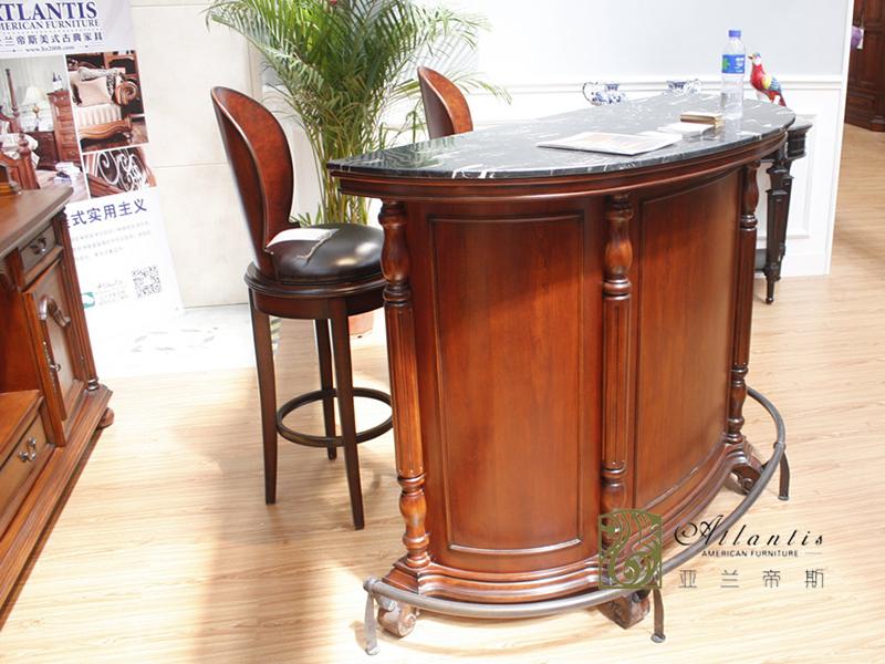 亚兰帝斯家具美式古典书房鹅掌楸实木吧椅 /C4604吧台