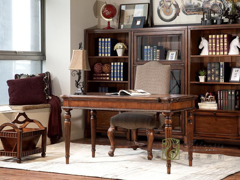 亚兰帝斯家具美式古典书房鹅掌楸实木S3250书柜/书桌椅/书柜