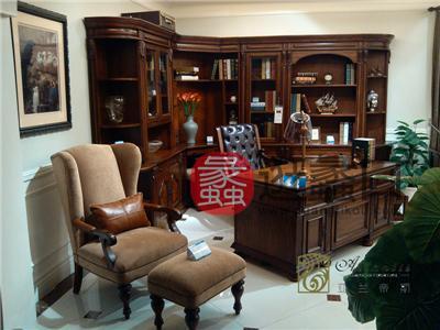 亚兰帝斯家具美式古典书房鹅掌楸实木S3241 组合书柜