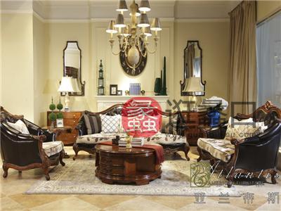 亚兰帝斯家具美式古典客厅鹅掌楸实木三人位/双人位K4705沙发/茶几