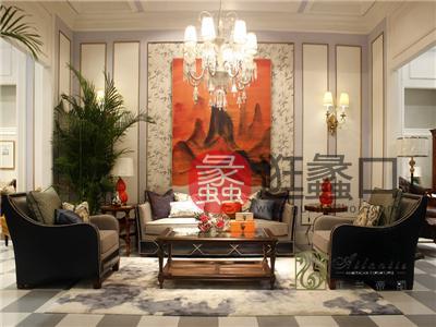 亚兰帝斯家具美式古典客厅鹅掌楸实木双人位/三人位/单人位K4757沙发 K5803玻璃茶几