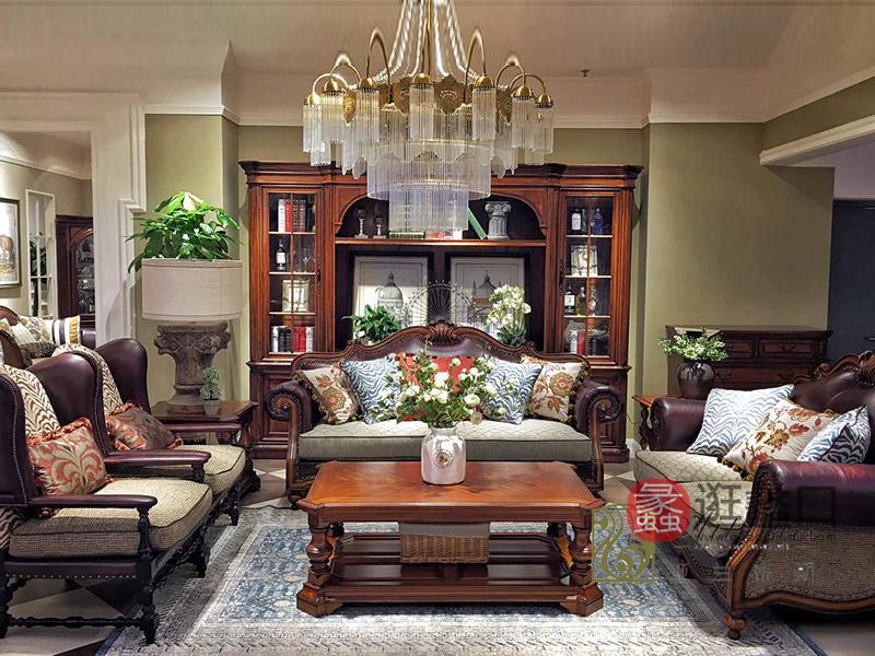 亚兰帝斯家具美式古典客厅鹅掌楸实木双人位/三人位/单人位K3702-D沙发/茶几/置物柜