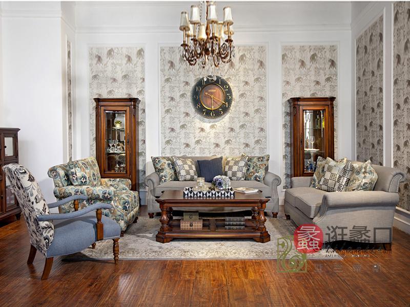亚兰帝斯家具美式浅色客厅鹅掌楸实木双人位/三人位/单人位 K4755沙发/厅柜/茶几