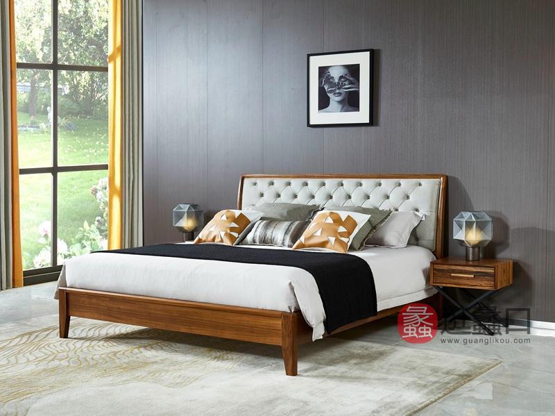 洛克现代卧室床乌金木实木床W-9113