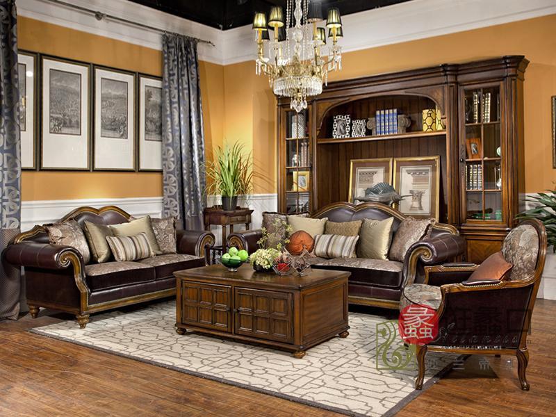 亚兰帝斯家具美式古典客厅鹅掌楸实木全实木 水性漆沙发组合K4752新款/茶几