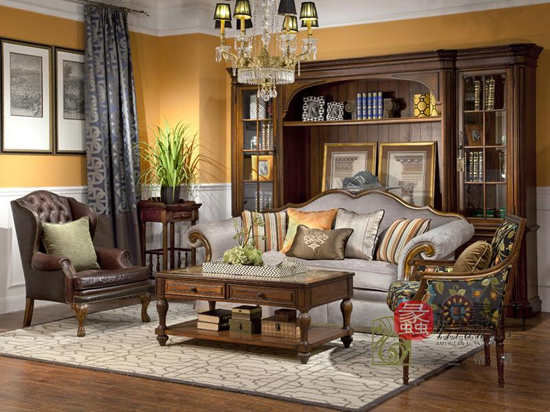 亚兰帝斯家具美式古典客厅鹅掌楸实木水性漆布艺四人位/单人位沙发/茶几 K4733-3/花架
