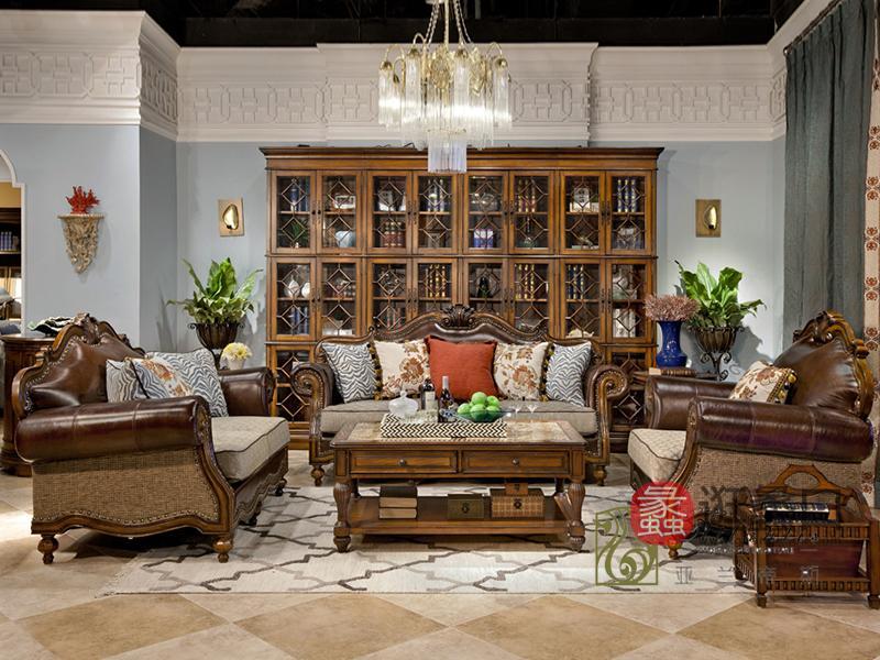 亚兰帝斯家具美式古典客厅鹅掌楸实木双人位/三人位/单人位皮沙发K3702-D /茶几