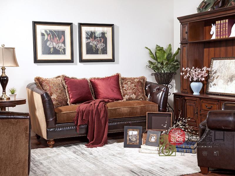 亚兰帝斯家具美式古典客厅鹅掌楸实木水性漆 K4726沙发组合/书柜