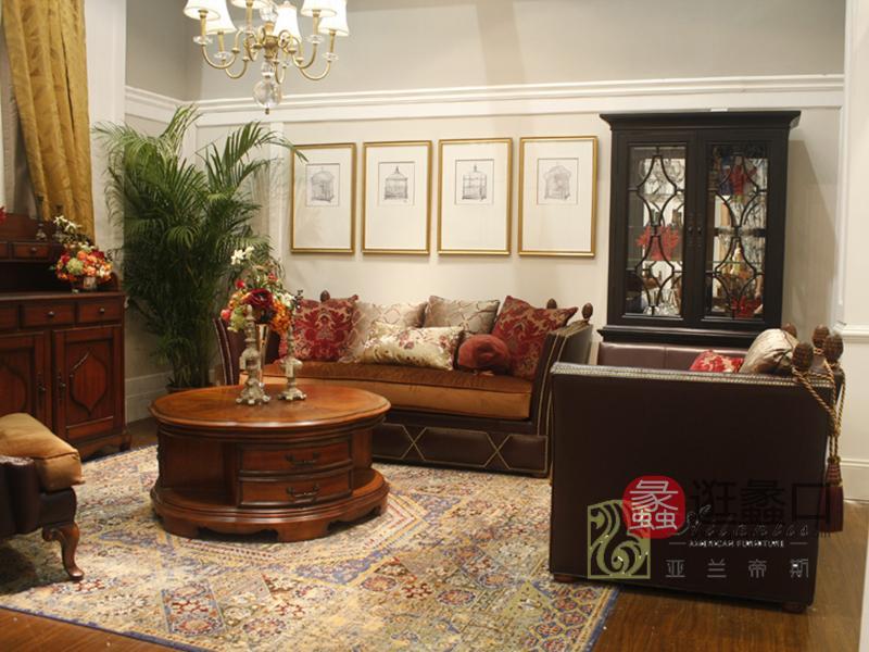 亚兰帝斯家具美式古典客厅鹅掌楸全实木水性漆K4758沙发/茶几