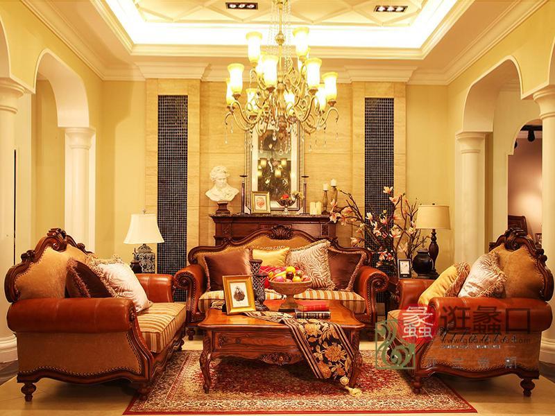 亚兰帝斯家具美式古典客厅鹅掌楸全实木水性漆双人位/三人位/单人位K3702皮沙发