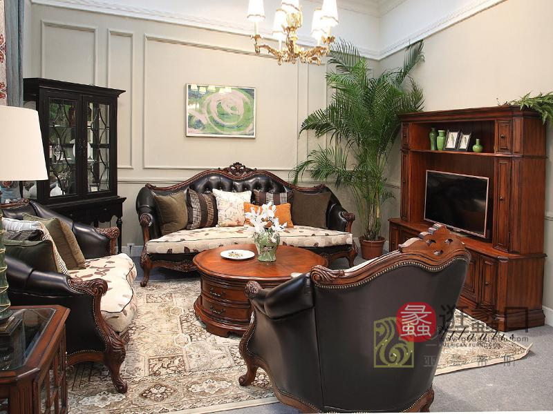 亚兰帝斯家具美式古典客厅鹅掌楸全实木水性漆三人位/双人位/单人位沙发/电视柜