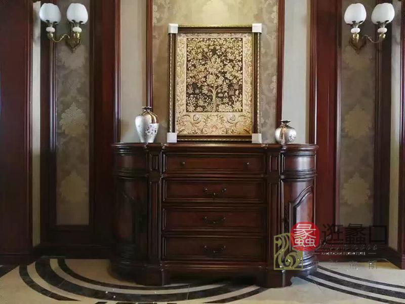 亚兰帝斯家具美式古典客厅鹅掌楸全实木水性漆K4223玄关柜
