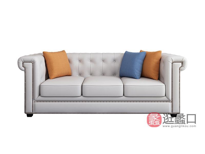 兰迪家具美式客厅沙发实木沙发三人位603沙发