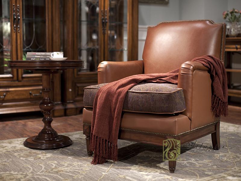亚兰帝斯家具美式古典客厅鹅掌楸全实木水性漆K3526休闲椅