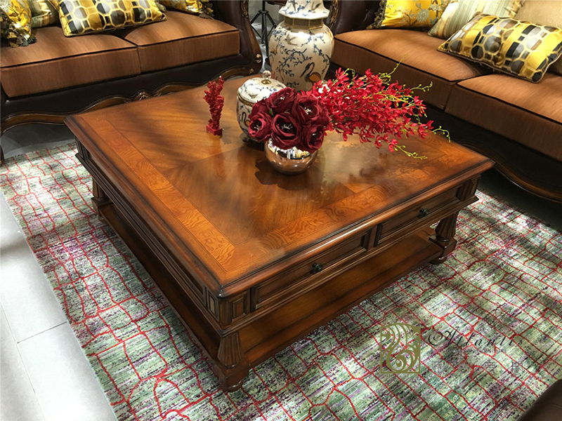 亚兰帝斯家具美式古典客厅鹅掌楸全实木水性漆K4818方茶几