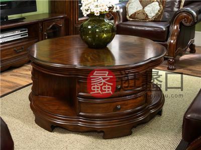 亚兰帝斯家具美式古典客厅鹅掌楸全实木水性漆K3807圆茶几
