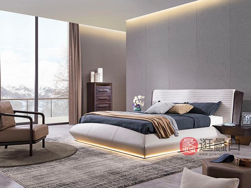 德国优客家具现代实木卧室时尚艺术双人大床+床头柜组合
