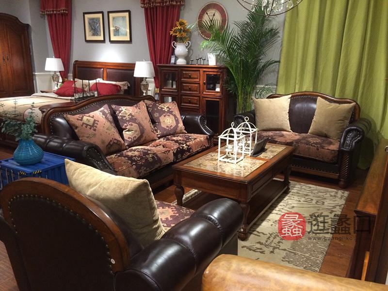 亚兰帝斯家具美式古典客厅鹅掌楸全实木水性漆双人位/三人位K3718沙发(一面皮一面布抱枕)