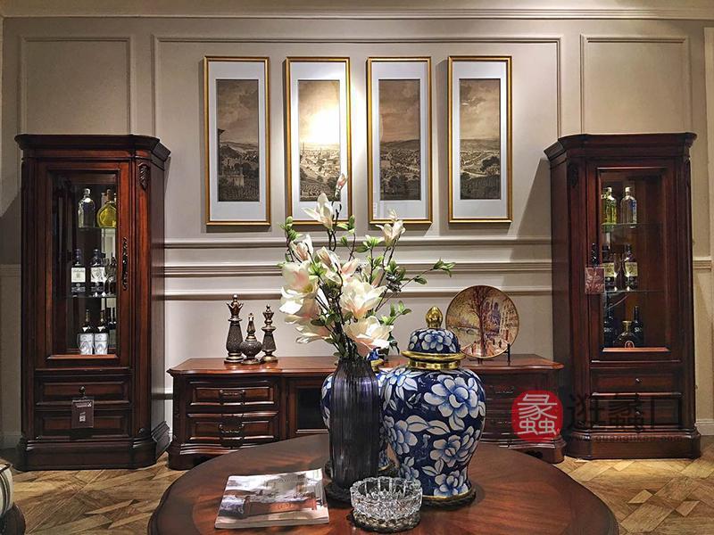 亚兰帝斯家具美式古典客厅鹅掌楸全实木水性漆K4265 电视柜/ K4273 但门酒柜